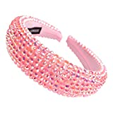 SP SOPHIA COLLECTION Women's Sparkling Crystal Padded Rhinestone Wide Bejeweled Hair Headband Party Hairband Hair Accessories in Pink