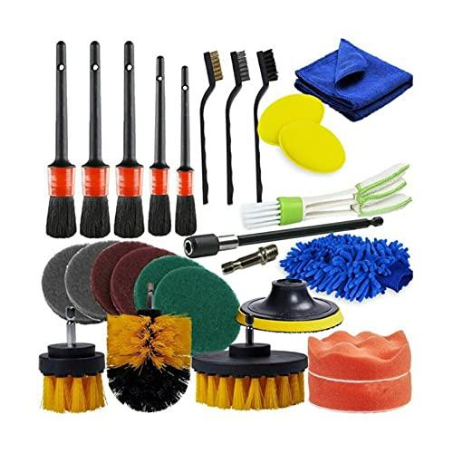 YXIUER 26 PCS Detalles de automóviles Conjunto de cepillos Kit de Limpieza de automóviles para Ruedas Motor 5 tamaños Interior automotriz Tablero de Instrumentos de Salida Cepillo Limpio (Color : A)
