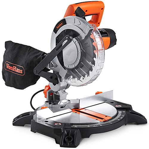VonHaus 1400W Mitre Saw 210mm Blade with 15°, 22.5°, 30° and 45° Key Bevel Angles, 45° / -45° Versatility – Dust Bag Included