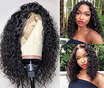 Swetcurly 13x3 Lace Front Wigs Glueless Wave Synthetic Wigs Heat Resistant Short Bob Wigs Natural Hairline with Baby Hair For Black Women  14 Inch