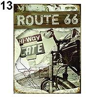 hamulekfae-楽器米国ルート66高速道路道路歴史的金属ティンサインプラークホームドア壁の装飾 - 13#