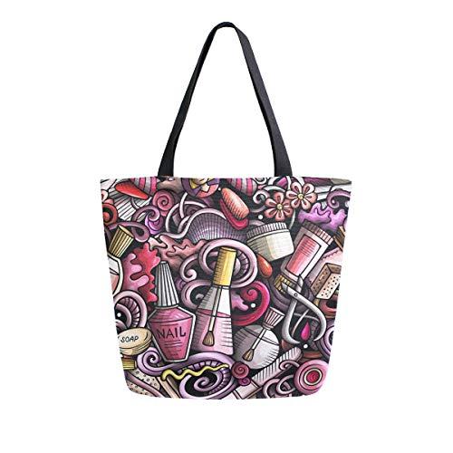CPYang Lustige Kosmetiktasche mit Nagellack-Muster, Leinen, große Handtaschen, wiederverwendbare...
