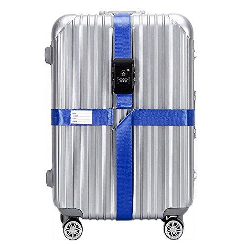 BlueCosto TSA Approved Cross Luggage Straps with Combination Locks Travel Belts - Dark Blue