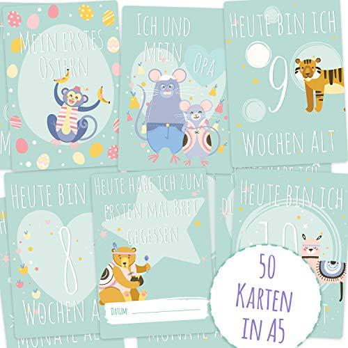 Mammacita baby mijlpaal kaarten voor het eerste levensjaar - voor jongens en meisjes - ideaal als geboortegeschenk, babyparty voor aanstaande ouders - mijlpastkaarten - Duits