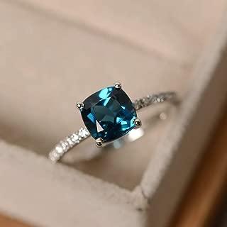 Metmejiao Peacock Blue Topaz Square Diamond Ring Gemstone Ring Women Aquamarine Gemstone 14k White Gold Filled Wedding Bridal Band Ring (7)