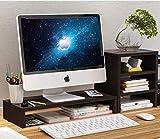Desktop Bookshelf Monitor Stand Riser Adjustable Computer Riser with 1-Tier Storage Shelf, Screen Stand for Laptop/TV/PC, Multifunctional Desktop Organizer, Wood Grain - Walnut