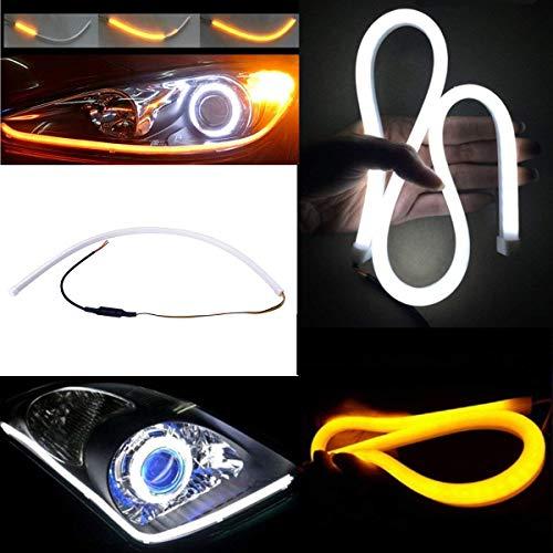 Blanc/Ambré Flexible 2 tubes LED Style Barre,YANF D'écoulement Silicone DRL Feux Diurnes Larme Strip Voiture Phare Clignotant 60CM