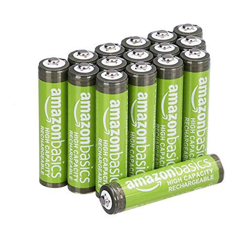 AmazonBasics - Batterie AAA ricaricabili, ad alta capacità, 850 mAh (confezione da 16), pre-caricate