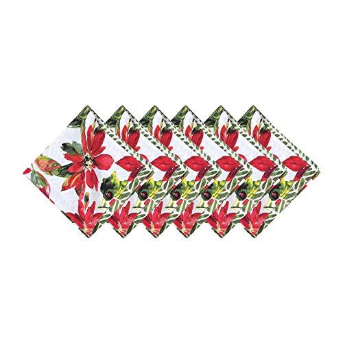 C&F Home Poinsettia Berries Napkin Set of 6 Napkin Set of 6 Red, Green, Black