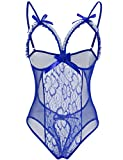Bluetime Women's Lingerie Mesh Babydoll Sleepwear One Piece Teddy Lace Nightie