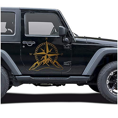 Autoaufkleber Kompass Offroad Windrose Sticker Folie für Auto Motorrad Wohnwagen Wohnmobil Anhänger Aufkleber Selbstklebend Kfz Zubehör KX059 (Gold, Design 2 groß)