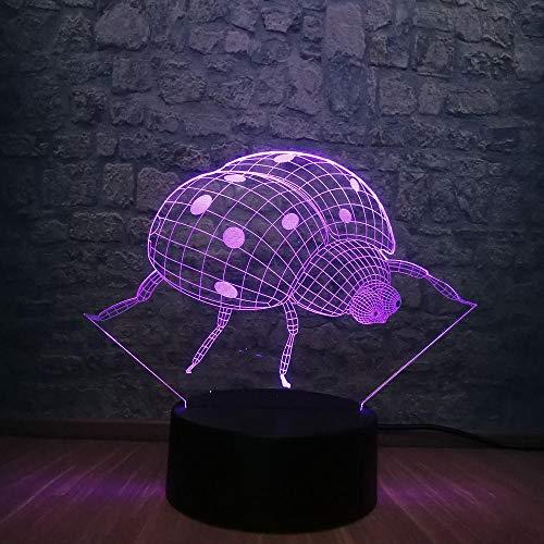 Lámpara De Ilusión 3D Luz Nocturna Nocturna Serie Animal Lady Ladybug Dormitorio...