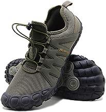 Weweya Barefoot Shoes Men Cross Training Five Fingers Minimalist Running Zero Drop Wide Toe Box Shoe Size 9.5 Army Green