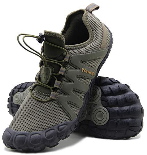 Weweya Barefoot Shoes Men Cross Training Five Fingers Minimalist Running Zero Drop Wide Toe Box Shoe Size 11 Army Green
