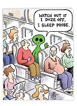 Alien on Plane Birthday Card  Big Greeting Card with Envelope 8.5 x 11 Inch - Green Alien Airplane Passenger Funny Cartoon Comics Stationery Set for Personalized Happy Birthday Greetings J9676