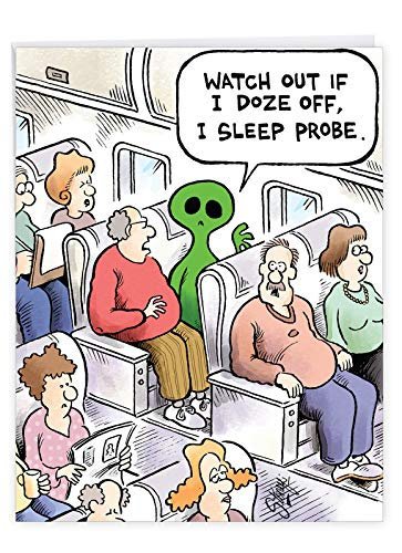 Alien on Plane Birthday Card' Big Greeting Card with Envelope 8.5 x 11 Inch - Green Alien Airplane Passenger, Funny Cartoon Comics Stationery Set for Personalized Happy Birthday Greetings J9676