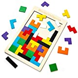 Rompecabezas de madera Tetris Rompecabezas Juegos de bloques geométricos Tangram Rompecabezas Juguete Montessori Preescolar Regalo educativo temprano para niños pequeños y ancianos
