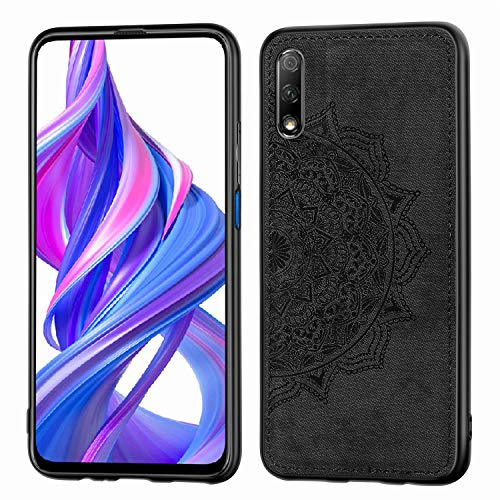 Grandcase Honor 9X Case,Ultra thin PU Leather Soft Flexible TPU Bumper Anti-Slip Scratch Resistant Protective Cover for Huawei Honor 9X 6.59' -Black