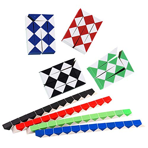 Quesuc Snake Magic Puzzle Würfel Spielzeug mit 24 Blöcken,4 Stück Magic Snake Cubes für Kinder Geburtstagsfeier Bevorzugungsgeschenke (Zufällige Farben)
