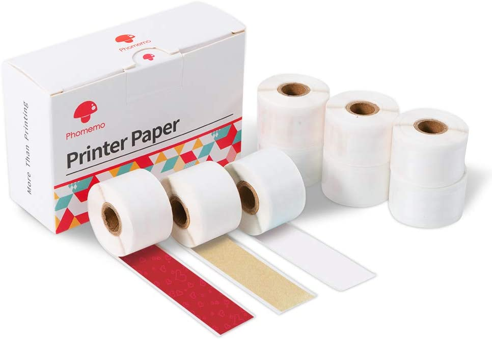 Phomemo Sticker Paper- Sticker Fully Transparent Thermal Film/Sticker Gold Powder Thermal Film/Red Button with Red Heart, 15mm x 3.5m for Phomemo M02 Pro/M02S Printer, 3 Rolls of Each, Total 9 Rolls