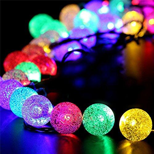 Solar Power 30LED Burbuja perlas de luces de la cadena de la cadena de la cadena de la luz de la boda de Navidad vestido de la boda