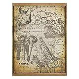 Cuadro en Lienzo - Vintage Collage - Africa Wildlife - 160 x 120cm - Canvas