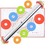 Rolling Pin With Thickness Rings and Silicone Baking Pastry Mat Set, Stainless Steel Rolling Pin with Adjustable Thickness Rings, for Baking Pizza, Pie, Pastries, Pasta and Cookies