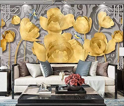 ZZXIAO 3D Impresso La Giglio D Oro Modern Fotomurali 3D Photo Wallpaper Murale fotomurali poster murale Soggiorno camera letto minimalista tv sfondo-350cm×256cm