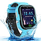 Kids Smart Watch, Waterproof GPS Tracker Smartwatch for Kids, Two-Way-Calling Watch Phone with HD Touch Screen, Camera, Alarm,Game, Christmas Birthday Gifts Toy for 3-12 Years Old Boys and Girls-Blue