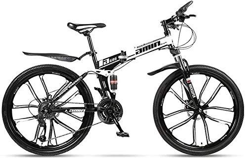 Bicicleta de montaña plegable de 24 velocidades de 24 pulgadas estudiantes masculinos y femeninos de velocidad variable doble amortiguador de doble disco de freno doble amortiguador