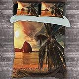 Ocean Paquete de 3 (1 funda de edredón y 2 fundas de almohada) Havana Beach Sunny Tropics Montañas Rocas y cocoteros Poliéster (completo) Naranja Marrón Claro Verde Oscuro