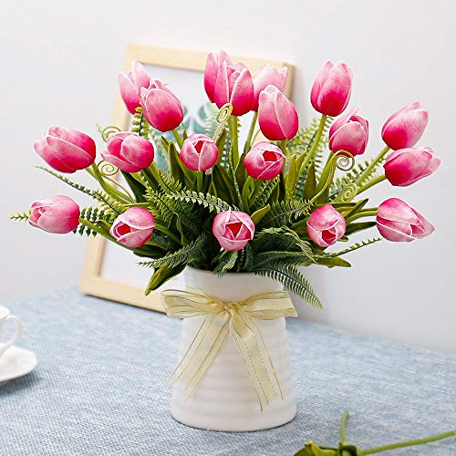 YILIYAJIA Artificial Tulips Flowers with Ceramics Vase Fake Tulip Bridal...
