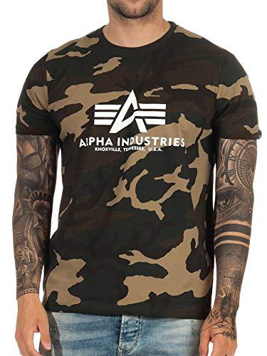 Alpha Industries T-Shirt Basic schwarz weiß blau braun grün Olive Burgundy gelb (L, Woodland Camo)