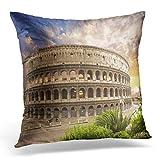 Hangdachang Funda de Almohada Azul Coliseo Antiguo Roma Italia Coliseo Rojo...