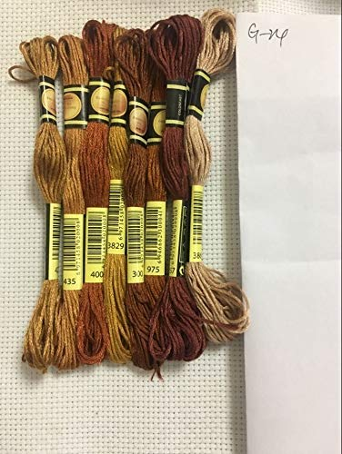 Borduurgaren 8 Cross Stitch Rijg de unieke stijl Cotton Borduurgaren Floss naaien Strengen Craft Kleur van de gradiënt ZHQHYQHHX (Color : Champagne, Size : A)
