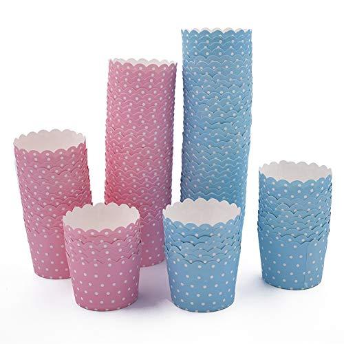 SIMUER 100 Stück Mini Muffin Förmchen Backförmchen Cupcake Formen Papier für Weihnachten Hochzeit Geburtstag Party Dekoration - Blau & Rosa mit Punkt 1,97 x 2,3 x 1,85 Zoll