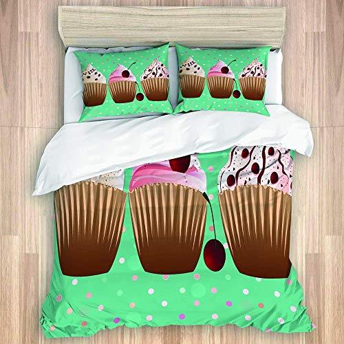 HARXISE Postres de Cupcakes Dulces con Lunares Microfibra cepillada 1 Funda nórdica 2 Fundas de Almohada Cierre de Cremallera