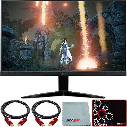 Acer KG271 27' Widescreen Gaming Monitor Full HD (1920 x 1080 16:9) TN Display with AMD FREESYNC 2X HDMI & VGA Port bmiix Bundle w/Deco Gear HDMI Cable 2 Pack + Gamer Surface Mousepad + Screen Cloth