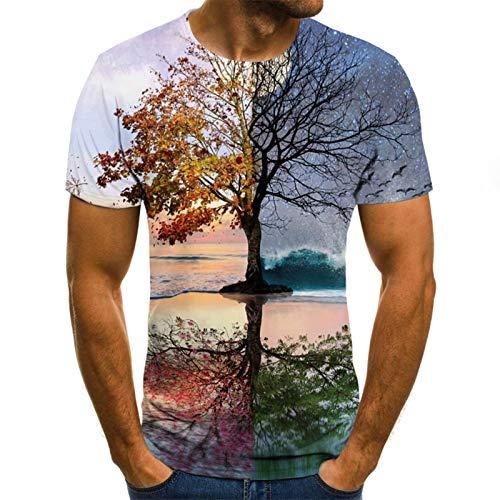 SSBZYES Camisetas para Hombres Camisetas De Manga Corta De Talla Grande para Hombres Primavera Y Verano para Aumentar Las Camisetas De Manga Corta con Impresión Digital En 3D De Arce Hermoso para