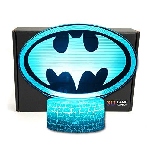 TriProC Led-Superheld-3D Optische Illusion Smart-7 Farben-Nachtlicht Tischlampe Mit Usb-Stromkabeln batman-logo
