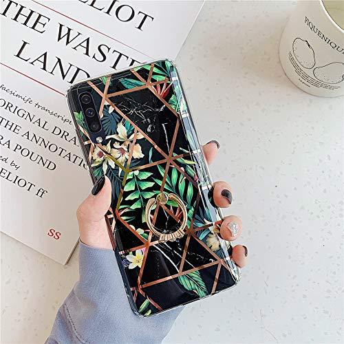 MoreChioce kompatibel mit Samsung Galaxy A50 Hülle Marmor Glitzer Diamant Silikon Handyhülle mit Ring Ständer Geometrisch Marble Strass Transparente TPU Schutzhülle Tasche Bumper,Schwarz Marmor