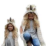 SevenPanda Crochet Cartoon Unicorn Winter Hat con Bufanda de Bolsillo Capucha Tejiendo Gorro Lana Cosplay Fotografía Invierno cálido Cute Unicorn Hat Kids Baby Girls Niños Sombrero - Green Unicorn