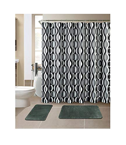 All American Collection 15-Piece Bathroom Set with 2 Memory Foam Bath Mats and Matching Shower Curtain   Designer Patterns and Colors