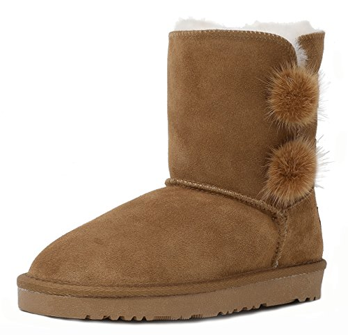 DREAM PAIRS Little Kid Shorty-Pompom Chesnut Sheepskin Fur Winter Snow Boots Size 12 M US Little Kid