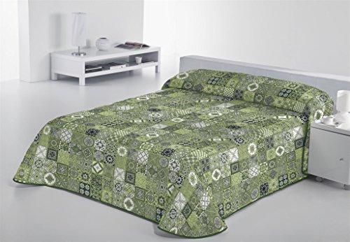 SABANALIA - Colcha Estampada Rustik (Disponible en Varios tamaños), Color Verde, Cama 90-180 x 280 cm