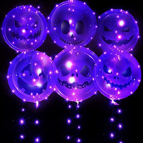 6 Set Palloncini Luminosi di Halloween, Palloncini Spettrali Decorazionidi Halloweencon 10 ftStringa di Luce Viola, Fornituredi Halloweenper Nozze Casa Compleanno (20Pollici/ 50 cm)