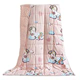 BUZIO Kids Weighted Blanket 5 lbs, Ultra Cozy Minky Fleece and Cotton Sided with Unicorn Patterns, Reversible Heavy Blanket Great for Calming and Sleeping, 36x48 inches