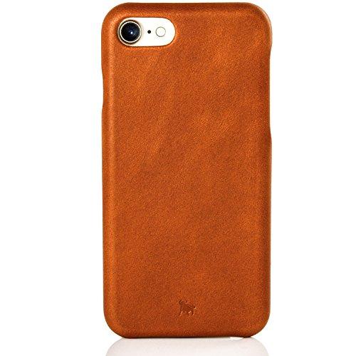 BULLAZO Menor Classic, hochwertige Handyhülle, Hülle, Hülle, Backcover echt Leder, Kompatibel mit Apple iPhone SE 2020, 7 & 8 in Cognac
