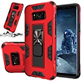 STORM BUY Phone Case for [ Samsung Galaxy S8 ], Heavy Duty Armor Back Cover with [Shock Absorption] Protection, Kickstand Ring Red Bumper Case for Galaxy S8 (5.8-inch-IRRD)
