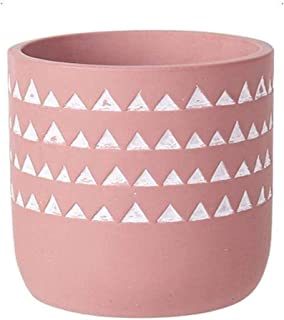 """Flowerpot plant pot concrete flower planters cement - drain hole and a 4.7""""medium pot - hand-crafted geometry cylinder Deco indoor plant container flower (Color : Pink)"""